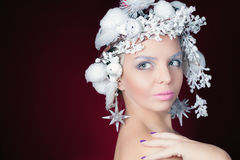 Winter Queen with white magical hairstyle Stock Photos