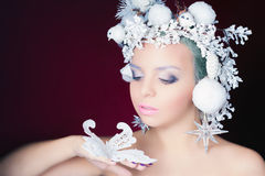 Winter Queen with white magical hairstyle Stock Photo