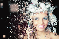 Winter Queen with white magical hairstyle using mobile phone Royalty Free Stock Photos