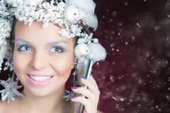 Winter Queen with white magical hairstyle using mobile phone Royalty Free Stock Image