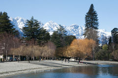 Winter Queenstown. Calm and Beautiful Winter resort Queenstown royalty free stock photo