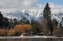Winter Queenstown. Calm and Beautiful Winter resort Queenstown stock image