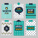 Winter quotes journal cards set on trendy texture patterns background. Assorted winter quotes journal cards set on beautiful and trendy patterns background royalty free illustration