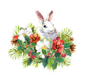 Winter rabbit, flowers, pine tree, mistletoe. Christmas watercolor for greeting card with cute animal Stock Photography