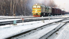 Winter rail road with cargo locomotive. At winter stock footage