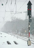 Winter Railroad. Railroad tracks and signal in winter during snowfall Royalty Free Stock Image