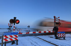 Winter railroad crossing Stock Photos