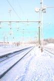 Winter Railroad Landscape Stock Photo