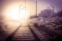 Winter railroad landscape Stock Images