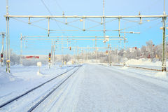 Winter Railroad platform Royalty Free Stock Photography