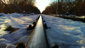 Winter rails. Rails in west park Sofia, Bulgaria during sunny winter day Stock Images