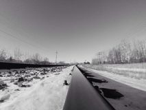Winter railway. Winter day in railway Royalty Free Stock Photo