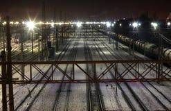 Winter Railway Junction. Saint-Petersburg, Russia. Russia. Saint-Petersburg railway junction. Winter night Royalty Free Stock Photo