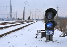 Winter railway signal. Winter small railway signal in the railyard Stock Images