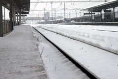 Winter railway station Royalty Free Stock Photos