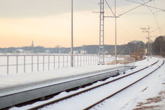 Winter railway in sunset Royalty Free Stock Images