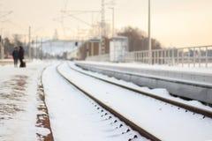 Winter railway in sunset Stock Photos