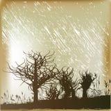 Winter Rain. Background illustration of winter trees in a rain storm royalty free illustration
