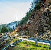 Highway Closed Rock Slide Ahead royalty free stock images