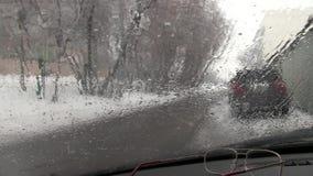 Winter rain stock video footage