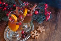 Winter Ð¡ranberry punch in glass. Hot drink, cranberry punch with orange, cinnamon and anise. Winter and Christmas festive decor royalty free stock photos