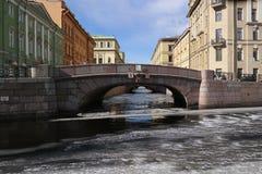 Winter recess. Bridge across the Winter Canal Royalty Free Stock Photo