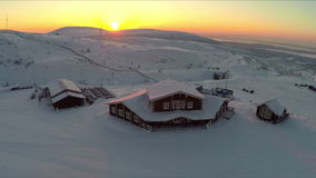 Winter recreation centre at sunset, aerial view stock video