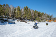Winter recreation on the river. Siberia, Russia Royalty Free Stock Photography