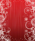 Winter red background with snowflakes Royalty Free Stock Image