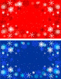 Winter red and blue backgrounds. Christmas. Background with snowflakes Royalty Free Stock Photos
