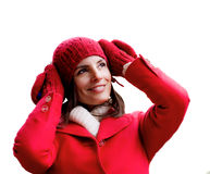 Winter red dressed girl Stock Images