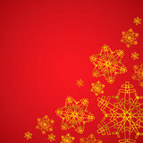 Winter red and golden christmas background / texture with snowflakes Royalty Free Stock Images