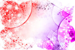 Winter red and pink background. With stars and snowflakes Stock Image