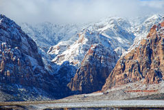 Winter in Red Rock Canyon near Las Vegas. Nevada. Red Rock Canyon National Conservation Area west of Las Vegas is made into a winter wonderland by a recent Stock Photo