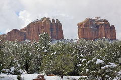 Winter Red Rock Landscape Stock Photo