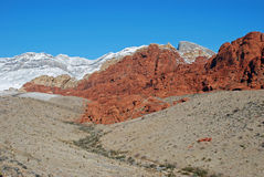 Winter on Red Sandstone in Red Rock Canyon, Nevada. Image shows Aztec Red Sandstone in the Red Rock National Conservation Area after a winter storm. Snow capped Royalty Free Stock Images