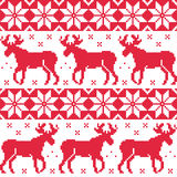 Winter red seamless pattern with reindeer Royalty Free Stock Images