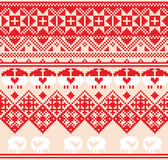 Winter red seamless pattern with sheep. Pixel design background Royalty Free Stock Photography