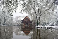 Winter Reflection in Snowy French Village royalty free stock images