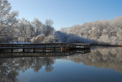 Winter Reflections of Boardwalk & Lake Stock Photos