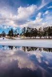 Winter reflections at Kiwanis Lake, in York, Pennsylvania. Royalty Free Stock Photo