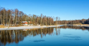 Winter reflections in Southern Sweden Royalty Free Stock Photo