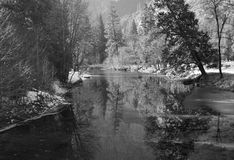 Winter Reflections, Yosemite. Winter reflections on the Merced River, captured in Yosemite National Park, California Stock Photography