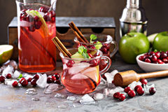 Winter refreshing cocktail with apples and cranberry Stock Image
