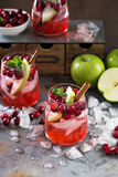 Winter refreshing drink with apples and cranberry Royalty Free Stock Photo