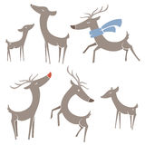 Winter Reindeer. Stylized reindeer illustrations. Each reindeer (and the scarf) are grouped and layered separately Royalty Free Stock Photography