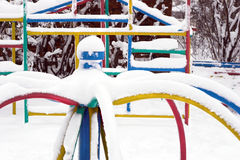 Winter relaxation. Playground in winter covered with snow (winter relaxation Stock Images