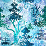 Winter repeating pattern. Winter seamless pattern with stylization transparent magic wood, snowflakes and butterflies (vector EPS 10 Royalty Free Stock Photo
