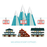 Winter resort banner vector illustration . Wooden cottages   Stock Images