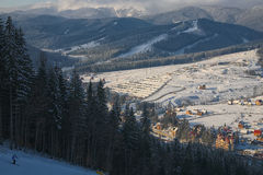 Winter resort in the Carpathian Mountains. Winter time in Carpathian mountains.views in the ski resort Stock Photography